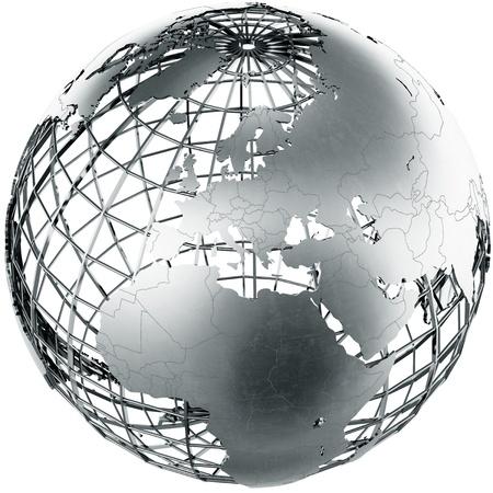 3d rendering of a metal globe showing Europe