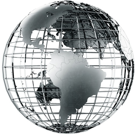 3d rendering of a metal globe showing South America