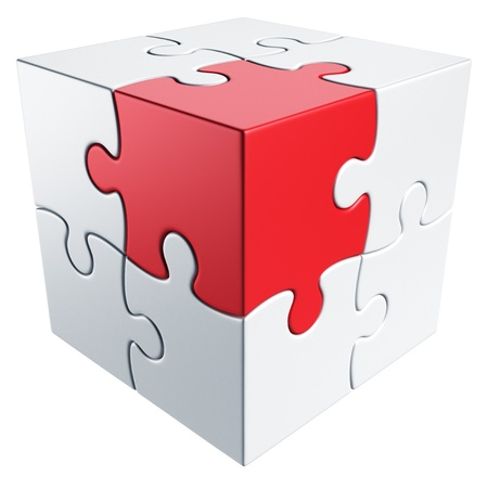 3d rendering of a cube made of puzzle pieces