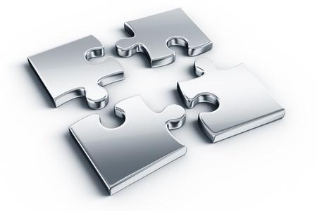 Photo pour Metal puzzle pieces on a white floor - image libre de droit