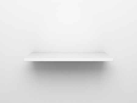 3d rendering of an empty bookshelf on a white wall