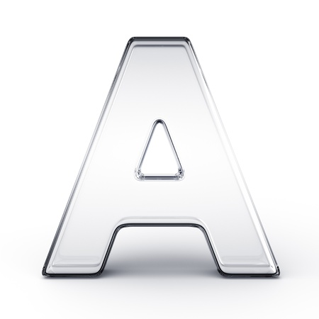 3d rendering of the letter A in glass on a white isolated background.