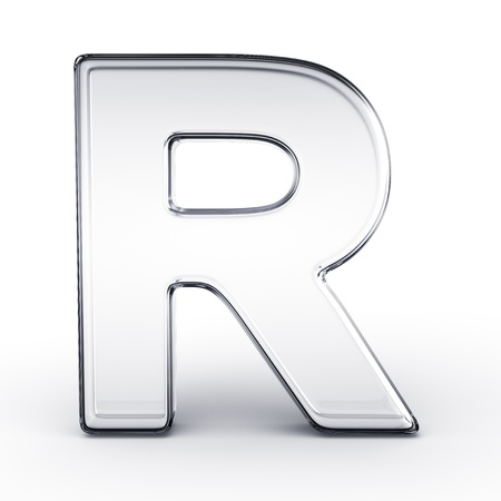 3d rendering of the letter R in glass on a white isolated background.