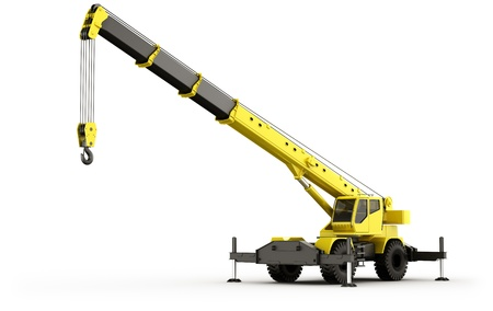 Photo for 3d rendering of a highly realistic mobile crane. - Royalty Free Image