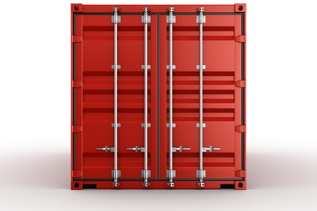 3d rendering of a shipping container seen straight on
