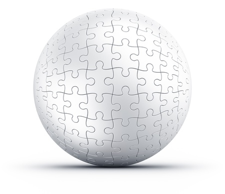 3d rendering of a spherical puzzle on a white floor