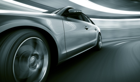 Photo pour 3d rendering of a brandless generic car of my own design in a tunnel with heavy motion blur - image libre de droit