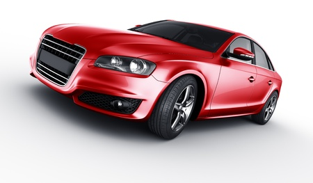 3d rendering of a brandless generic red car