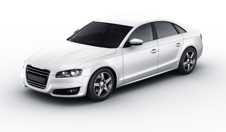 3d rendering of a brandless generic white car