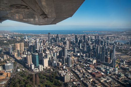 Aerial view of Modern building in Melbourne city and port phillip bay, Melbourne is the capital and most populous city in the Australian state of Victoria, Australia