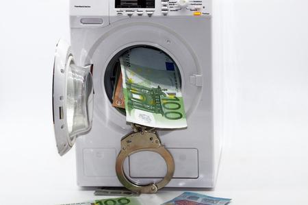 Photo pour Illegal money laundering black money released on white background - image libre de droit