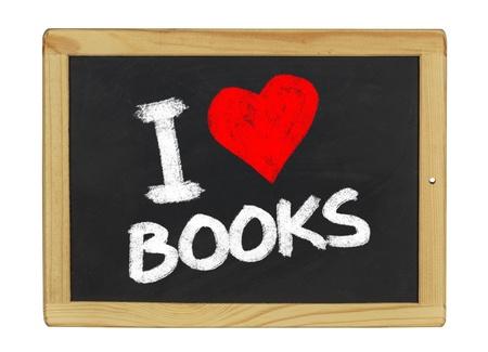 I love books on a blackboard