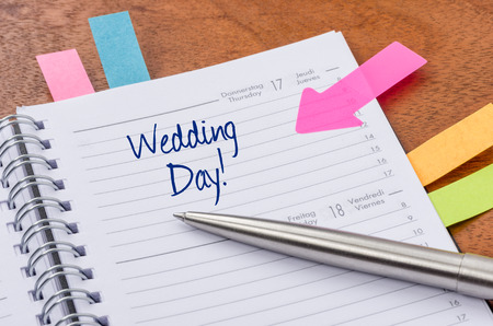 Daily planner with the entry Wedding Day