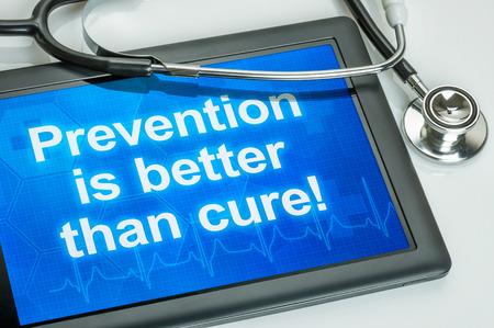 Photo pour Tablet with the text Prevention is better than cure - image libre de droit