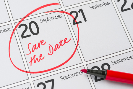 Photo for Save the Date written on a calendar - September 20 - Royalty Free Image