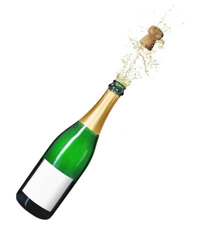 Foto de Isolated champagne bottle on a white background - Imagen libre de derechos