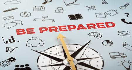 Foto de A compass with text and icons - Be Prepared - Imagen libre de derechos