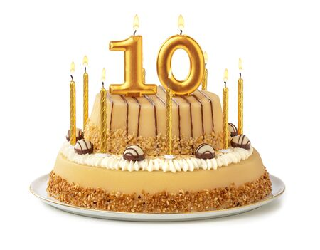 Foto de Festive cake with golden candles - Number 10 - Imagen libre de derechos