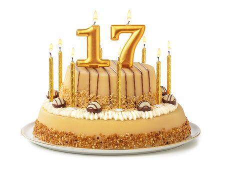Foto de Festive cake with golden candles - Number 17 - Imagen libre de derechos