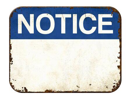 Photo pour Empty vintage tin notice sign on a white background - image libre de droit