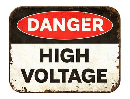 Photo pour Vintage tin danger sign on a white background - High voltage - image libre de droit