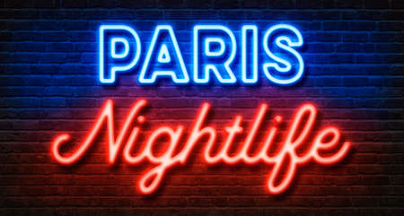 Photo for Neon sign on a brick wall - Paris Nightlife - Royalty Free Image