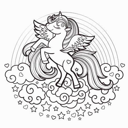 Ilustración de Cute rainbow unicorn. Black and white. Vector illustration for coloring book. For design prints, posters, tattoo. Vector - Imagen libre de derechos