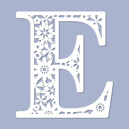 Ilustración de Laser cutting pattern. Letter E. Decorative letters of the alphabet. The initial letters of the monogram. For registration of cards, decorative elements of an interior and td. For cutting paper, wood, metal. Vector illustration - Imagen libre de derechos