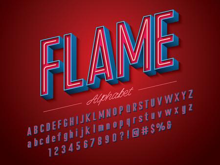 Illustration pour Neon light 3D alphabet design - image libre de droit
