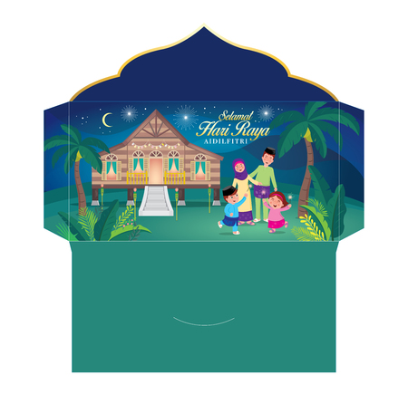 Illustration pour hari raya money packet with muslim family having fun with sparklers and traditional malay village house. Malay word selamat hari raya aidilfitri that translates to wishing you a joyous hari raya - image libre de droit