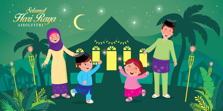 Photo pour vector illustration with cute muslim family having fun with sparklers and traditional malay village house. Malay word selamat hari raya aidilfitri that translates to wishing you a joyous hari raya. - image libre de droit