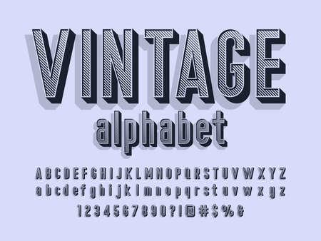 Ilustración de Vector of stylized retro alphabet design with uppercase, lowercase, numbers and symbols - Imagen libre de derechos