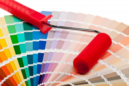 Paint roller and color samples for interior and exterior decoration works