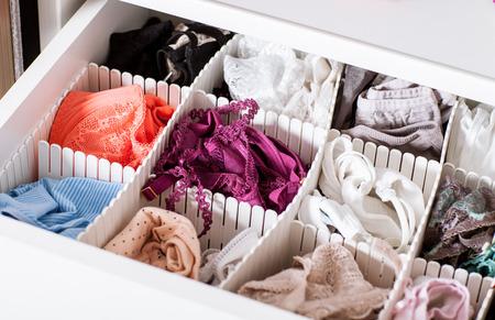 Female linen in the shelf - closeup shot
