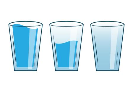 Ilustración de Full Half Empty Glasses of Water - Imagen libre de derechos