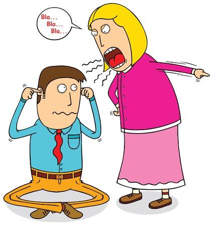 Illustration pour angry wife - image libre de droit
