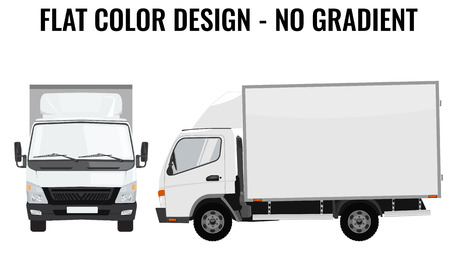 Illustration pour Vector small truck front view and side view. Cargo delivery. Solid and Flat color  design. White truck car for transportation. Corporate identity. - image libre de droit