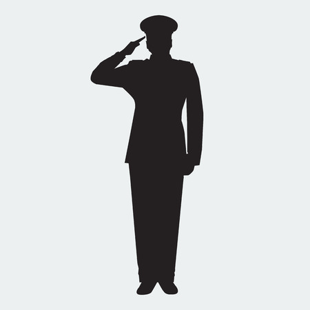 Foto per Illustrated Army general silhouette with hand gesture saluting. Vector military man. Veterans day design element. - Immagine Royalty Free