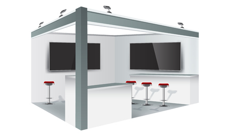 Exhibition stand display trade booth mockup design, white and grey