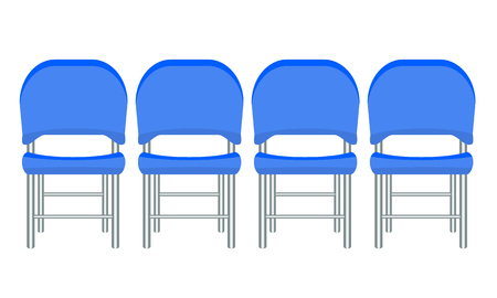 Illustration pour Group of blue plastic chairs with flat and solid color design. - image libre de droit