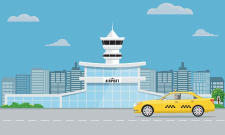 Ilustración de Airport terminal building and yellow taxi. Urban background flat and solid color design. - Imagen libre de derechos