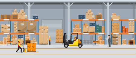 Ilustración de Warehouse Interior with Boxes On Rack And People Working. Flat and solid color style Logistic Delivery Service Concept. Vector Illustration. - Imagen libre de derechos