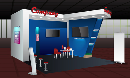 Trade Exhibition Stand Mockup Free : Exhibition stand display design with info board roll up. trade