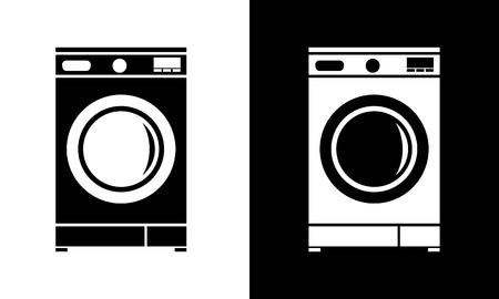 Illustration for Washing machine icon flat. Minimalist style vector illustration. - Royalty Free Image