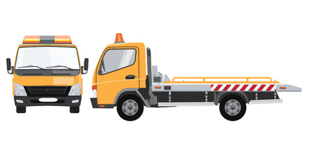 Illustration pour Yellow empty tow truck with front and side view. Flat vector with solid color design. - image libre de droit