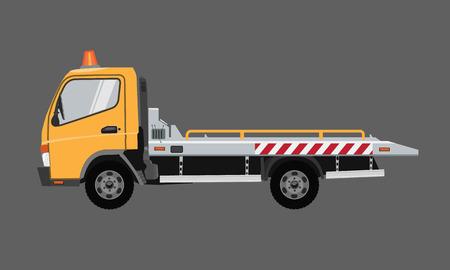 Illustration pour Yellow empty tow truck. Flat vector with solid color design. - image libre de droit