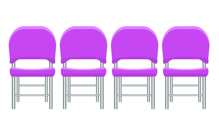 Illustration pour Group of purple plastic chairs with flat and solid color design. - image libre de droit