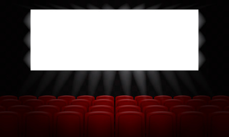 Illustration for Movie cinema with empty white screen for poster design. 3d Vector illustration. - Royalty Free Image