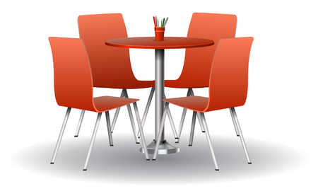 Illustration pour Red color Modern round table with chairs. High detailed vector illustration. - image libre de droit