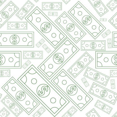 Illustration pour Dollars money seamless background texture with line art style. Vector illustration. - image libre de droit